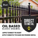 'Direct to Metal' Oil Based Gloss Enamel - Black